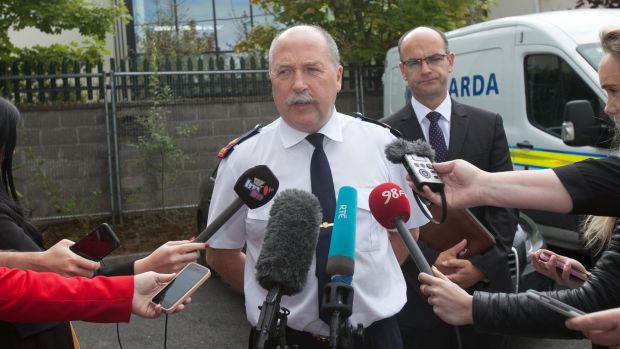 Stamullen shooting: Supt Jim Cannon speaking to reporters. Photograph: Gareth Chaney/Collins