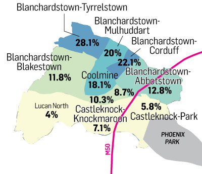 Unemployment rates in West Dublin, by area