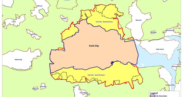 Cork land transfer would almost double size of city area a map of the cork city council area with areasin yellow which it gumiabroncs Choice Image