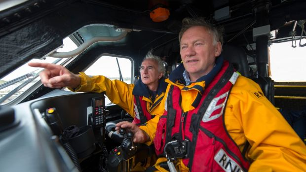 Baltimore lifeboat: coxswain Kieran Cotter and crew member Ronnie Carthy. Photograph: Michael Mac Sweeney/Provision