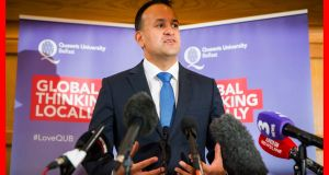Taoiseach Leo Varadkar at Queen's University Belfast: It is embarrassing when the leader of a government seems to be ignorant of the reality that there is already an economic border between Northern Ireland and the Irish Republic. Photograph: Liam McBurney/PA