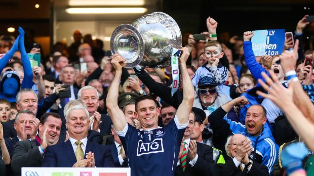 Cluxton lifts the Sam Maguire last September. Photo: James Crombie/Inpho
