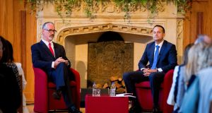 "Vice-chancellor Richard English with Taoiseach Leo Varadkar at Queen's University Belfast: ""Who do we in Europe speak to when we want to speak to Belfast?"" asked the Taoiseach.  Photograph: Liam McBurney/PA"