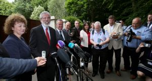 Sinn Fein President, Gerry Adams and his delegation speak with members of the media after meeting  Leo Varadkar in south Belfast. Photograph: AFP/ Paul Faith/Getty