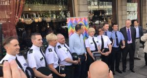 In Belfast today, Taoiseach Leo Varadkar met gardaí PSNI and some gay officers from England who are taking part in Belfast Pride.