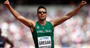 Ireland's Brian Gregan celebrates after finishing third in the heats of the 400m at World Athletics Championships in London. Photograph: Patrick Smith/Getty Images