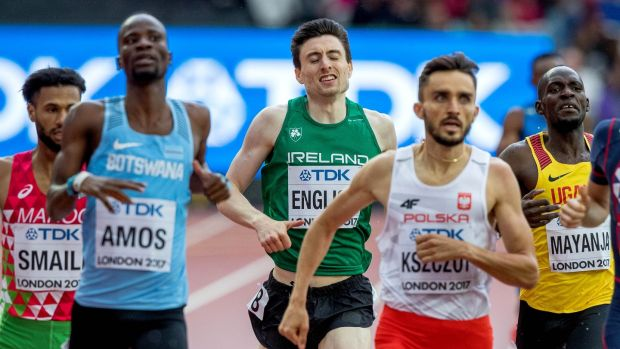 Ireland's Mark English comes home fifth in his heat of the 800m at the World Athletics Championships in London. Photograph: Morgan Treacy/Inpho