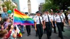 Belfast Pride: PSNI and Garda members wear their uniforms in the parade for the first time. Photograph: Peter Morrison/PA