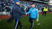 Dublin manager Jim Gavin shakes hands with his Monaghan counterpart Malachy O'Rourke after their All Ireland quarter final at Croke Park. Photo: Ryan Byrne/Inpho