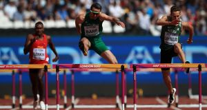 Ireland's Thomas Barr during the Men's 400m Hurdle heat two at the London Stadium. Photograph: PA