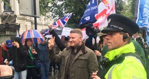 Around 50 people gathered in Belfast to hear speeches from Britain First leaders Paul Golding and Jayda Fransen. Photograph: Amanda Ferguson