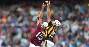 Galway's Jack Canning and  Michael Carey of Kilkenny challenge for the sliotar during the All-Ireland MHC semi-final at Croke Park. Photograph: Tommy Grealy/Inpho