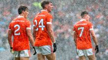 Armagh's James Morgan, Anthony Duffy and Joe McElroy look on dejected as Tyrone score a late point at Croke Park. Photograph: James Crombie/Inpho
