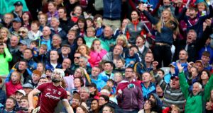 Galway's Joe Canning watches his match-winning point go over the bar in the All-Ireland SHC semi-final against Tipperary  at Croke park. Photograph: James Crombie/Inpho