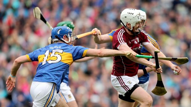 Tipperary's John McGrath and Michael Breen challenge John Hansbury of Galway during the All-Ireland SHC semi-final at Croke Park. Photograph: James Crombie/Inpho