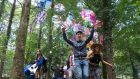 Walking in the woods at the Electric Picnic. Photograph: Dave Meehan/The Irish Times