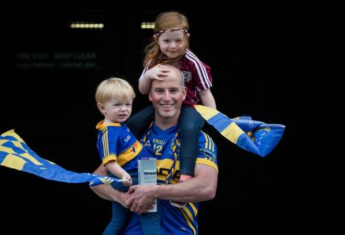 MATCH DAY: Jack Maher with his son JJ and Caoimhe from Lorrha at the All-Ireland senior hurling championship semi-final between Galway and Tipperary, in Croke Park. Photograph: INPHO/Ryan Byrne