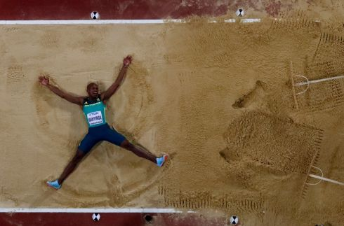 JUMP FOR JOY: Luvo Manyonga of South Africa celebrates winning gold in the men's long-jump final at the World Athletics Championships in London. Photograph: Fabrizio Bensch/Reuters