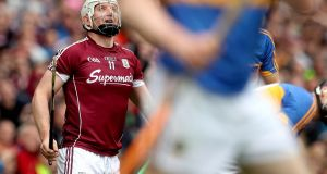 Galway's Joe Canning looks on after scoring the winning point against Tipperary at Croke Park. Photograph: Ryan Byrne/Inpho