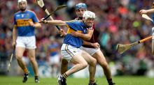 Galway's Johnny Coen tackles  Michael Cahill of Tipperary during the All-Ireland hurling semi-final at Croke Park. Photograph: Ryan Byrne/Inpho