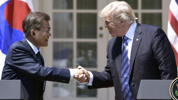 File photo taken on June 30th shows South Korean president Moon Jae-in and US president Donald Trump in the Rose Garden at the White House in Washington, DC.