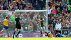 Mayo's Andy Moran scores his side's second goal. Photograph: James Crombie/Inpho