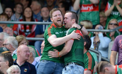 Mayo fans celebrate a goal. Photograph: Dara Mac Dónaill/The Irish Times