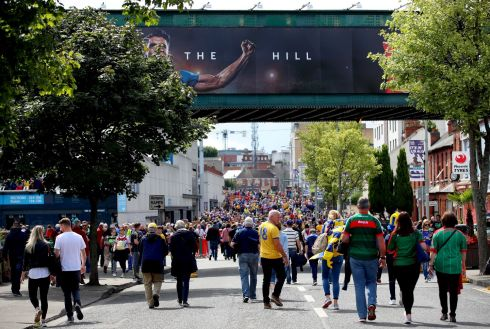 Fans make their way toward Croke Park for  for the All-Ireland SFC quarter-final replay between Mayo and Roscommon. Photograph: James Crombie/Inpho