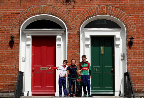 Mayo fans Rory, Kate, Colm and Eanna Byrne from Bohola before the game. Photograph: James Crombie/Inpho
