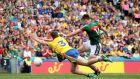 Mayo's Cillian O'Connor scores their fourth goal against Roscommon. Photograph: Inpho