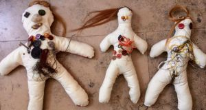 Handmade dolls from Soften the Border by Rita Duffy