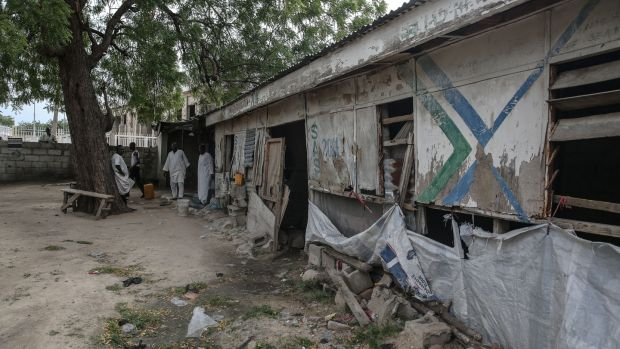 Headquarters of Sector 10, a unit of the Civilian Joint Task Force vigilante group which formed in 2013 to fight Boko Haram.