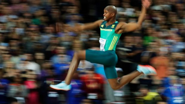 "Great leap: Manyonga won the men's long jump final in the IAAF World Championships with a jump of 8.48m. Five years ago, he was addicted to the deadly drug ""tik"". Photograph: Andy Lyons/Getty Images"