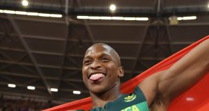 South Africa's Luvo Manyonga celebrates his gold medal win after the final of the men's long jump  at the 2017 IAAF World Championships  in London on Saturday. Photograph: Kirill Kudryavtsev/AFP/Getty Images