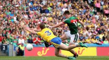 Mayo's Cillian O'Connor scores their fourth goal of the game. Photograph:  INPHO/Ryan Byrne