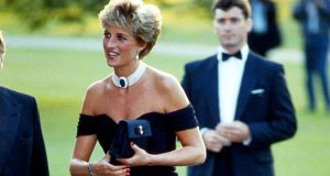 "Princess Diana in the famous ""Revenge"" dress by Christina Stambolian arriving at the Serpentine Gallery on the night Prince Charles revealed his infidelity"