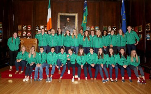 The Ireland squad at the Women's Rugby World Cup Welcoming Ceremony in the Mansion House, Dublin. Photograph: Dan Sheridan/Inpho