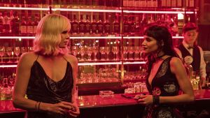 Charlize Theron, left, and Sofia Boutella in Atomic Blonde. Photograph: Jonathan Prime/Focus Features/AP