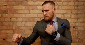 Cage Fighter Conor McGregor in Kellys Hotel fashion shoot. Photograph: David Sleator