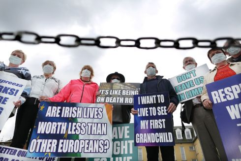 GET IT OFF YOUR CHEST: Members of the Alpha-1 Action Group, who are campaigning for approval of the Respreeza drug for emphysema sufferers in Ireland, outside the offices of the HSE in Dublin. Photograph: Julien Behal