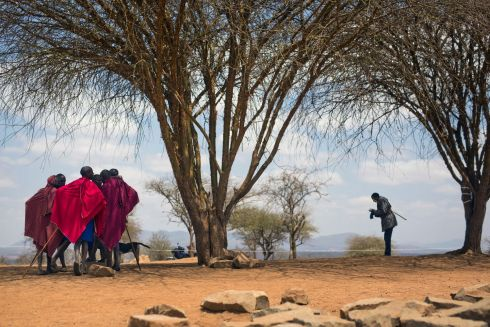 COMPARING NOTES: Maasai men converse under a tree after they cast their ballots the Kenyan presidential election in Eseki, 140km (85miles) south of Nairobi. Photograph: Jerome Delay/AP Photo