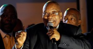 South African president Jacob Zuma addresses his supporters after he survived a no-confidence motion in Cape Town, South Africa, August 8th, 2017. Photograph: Mike Hutchings/Reuters