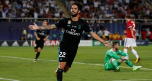 Isco's second half goal helped Real Madrid to Super Cup victory over Manchester United. Photograph: Peter Cziborra/Reuters