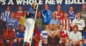 Wimbledon's Vinnie Jones takes part in a promotional launch for the new Premier League season in 1992. Photo: Getty Images