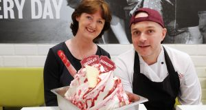 Marie Claire Digby and Jan Jariabka with the finished product: raspberry and white chocolate gelato. Photograph: Aidan Crawley