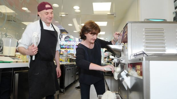 Marie Claire Digby making gelato at Gino's on George's Street, Dublin, under instruction from Jan Jariabka. Photograph: Aidan Crawley
