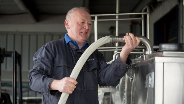 Des Hurley loading the milk at the Village Dairy, Co Carlow. Photograph: Dylan Vaughan