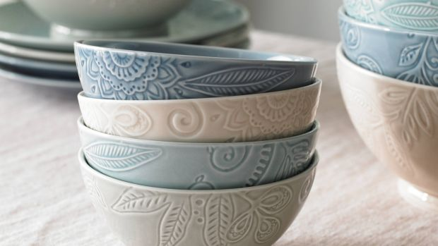 Denby's Monsoon Gather range features muted shades of pink, grey and green, and will be available at Arnotts for autumn.