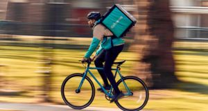 Deliveroo now has more than 400 riders working its platform in the five largest Irish cities, of whom about 20 per cent are motorcyclists. Photograph: Mikael Buck/Deliveroo