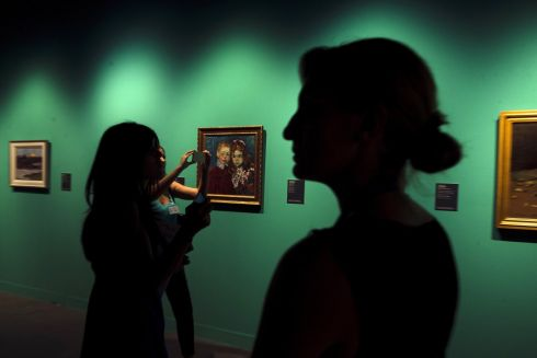 RUSSIAN ART: Visitors at the 'Alexei and Andreas Jawlensky,  Adventure of Color' exhibition at the branch of the Saint Petersburg State Russian Art Museum in Malaga, Spain. Photograph: Jorge Zapata/EPA
